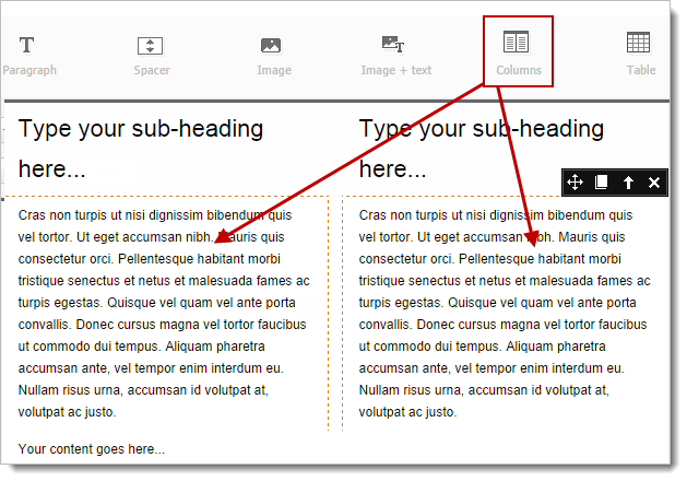 Create Campaign Online Help Zoho Campaigns - Two column email template