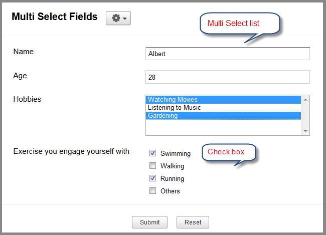 Zoho Creator: Multi select fields