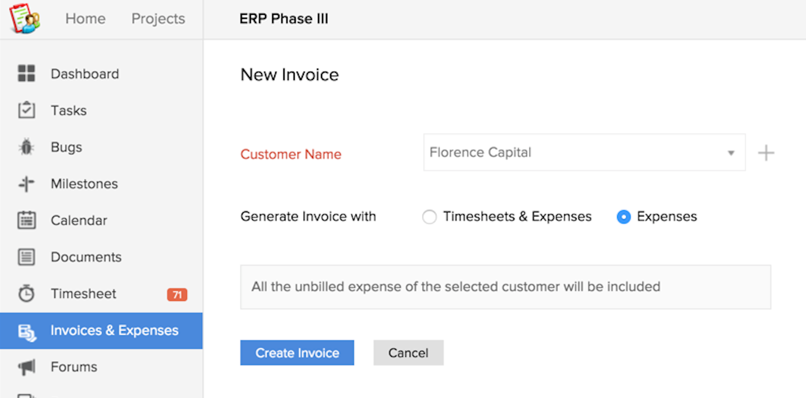 Invoice Via Expenses