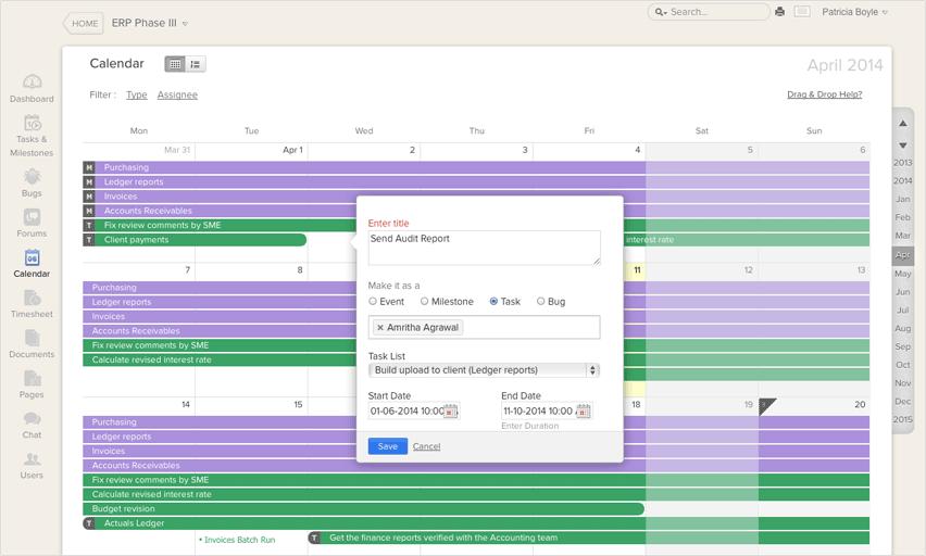 calendar for project management